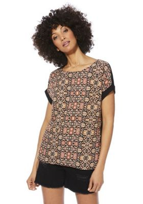 F&F Printed Woven Front T-Shirt Multi 6