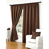 Hamilton McBride Waffle Lined Pencil Pleat Curtains - Brown