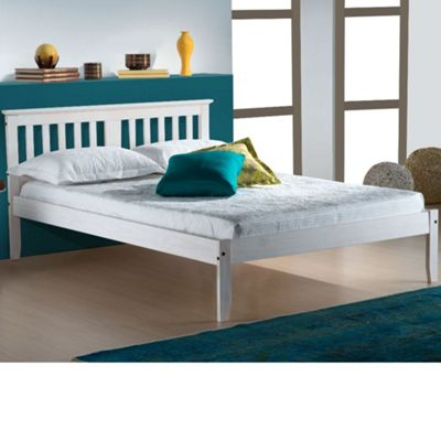 Happy Beds Salvador Wood Low Foot End Bed with Open Coil Spring Mattress - White - 4ft6 Double