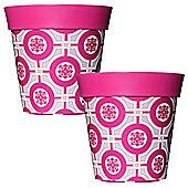 2 x 22cm Pink Tile Plastic Garden Planter 5L Flowerpot by Hum