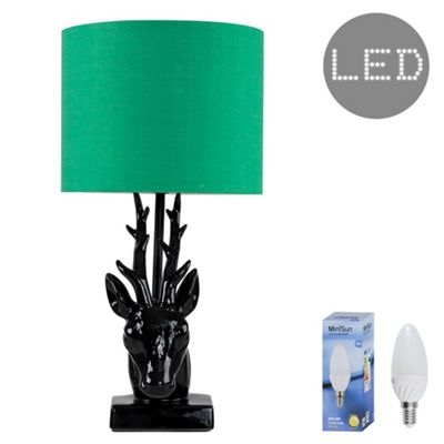 48cm Ceramic Stags Head LED Table Lamp - Black & Green