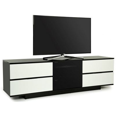 MDA Avitus Ultra Gloss Black and White TV Cabinet For 65 inch TV s