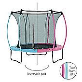 Plum 8ft Colours Springsafe Trampoline & Enclosure - Flamingo Pink & Tropic Turquoise