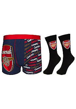 Arsenal FC Mens Socks & Boxer Shorts - Blue