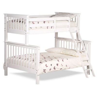 Happy Beds Chiltern Wood Kids Triple Sleeper Bunk Bed with Orthopaedic Mattress - White - 4ft6 Double