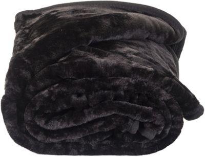 Faux Fur Black Mink Throw Soft Warm Blanket 150 x 200cm