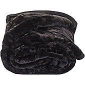 Faux Fur Black Mink Throw Soft Warm Blanket 150 x 200cm