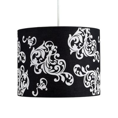 Modern Damask Ceiling Light Pendant Shade Black & White