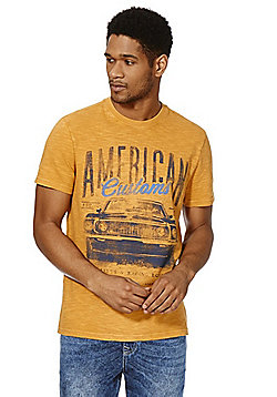 F&F Vintage Car Print T-Shirt - Yellow