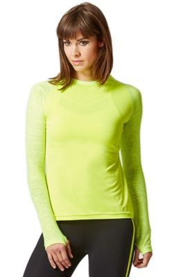 Yoga Long Knitted Sleeve Panel Top Yellow L