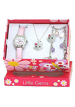 Girls Pink Kitten Watch and Jewellery Gift Set