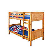 Comfy Living 3ft Single Children's Solid Wooden Bunk Bed in Caramel with 2 Sprung Mattresses