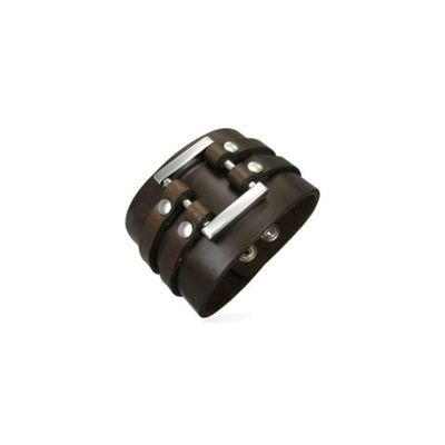 Urban Male Brown Leather Cuff Bracelet For Men 50mm