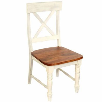 Homescapes Chateau Shabby Chic Solid Acacia Wood Dining Chairs Pair