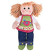 Bigjigs Toys Sophia 34cm Soft Doll in Denim Jeans with Apron - Rag Doll for Children