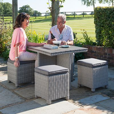Kettler - Whitewash Cube Set with Slat Table Top