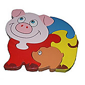 Traditional Wood 'n' Fun Farm Animal Puzzles - Pig 12m+