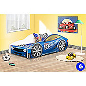 Toddler Car Bed and Mattress - Blue (Small)