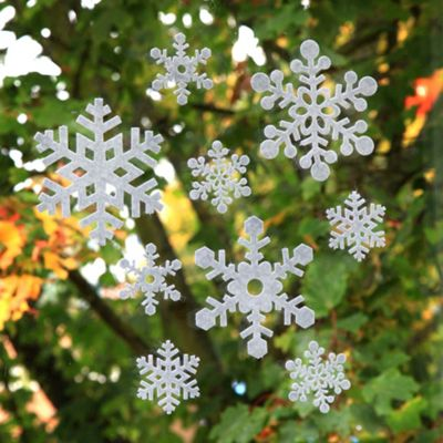 18pcs 8 and 16cm White Felt Window Adhesive Christmas Snowflake Decorations