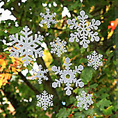 18pcs 8 and 16cm White Felt Window Adhesive Christmas Snowflake Decorations