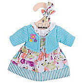 Bigjigs Toys Turquoise Rag Doll Cardigan and Flowery Dress for 28cm Soft Doll with Additional Matching Hair Accessories