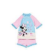 Disney Minnie Mouse UPF 50+ Surf Suit - Pink & Blue