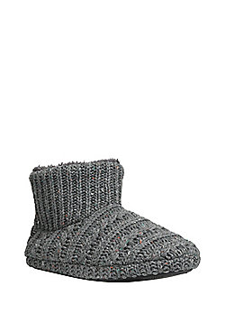 F&F Cable Knit Bootie Slippers - Grey