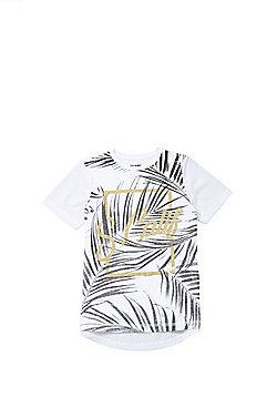 F&F Foil Slogan Leaf Print T-Shirt - White Multi