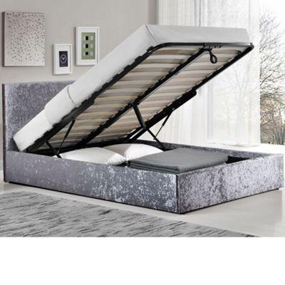 Happy Beds Berlin Crushed Velvet Fabric Ottoman Storage Bed - Steel - 4ft6 Double
