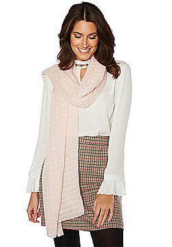F&F Glitter Square Pleat Scarf - Pale pink