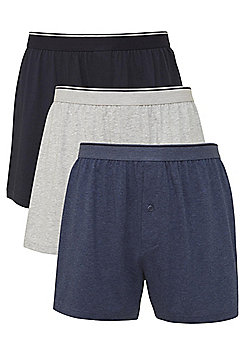 F&F 3 Pack of Jersey Boxer Shorts - Blue