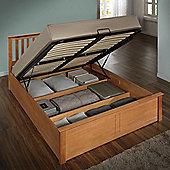 Happy Beds Phoenix Wooden Ottoman Storage Bed with Pocket Sprung Mattress - Oak