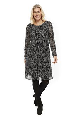 Evans Spot Print Mesh Plus Size Dress Black 22-24