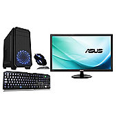 Cube i3 Fast ESport Gaming PC Desktop Bundle with 24 Monitor 8GB 1TB WIFI GTX 1050Ti 4GB Windows 10