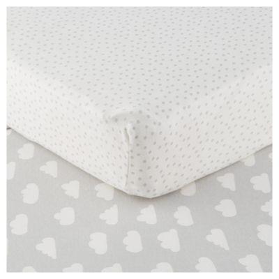 Tesco Elephant 2pk Cot Bed Sheets