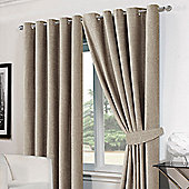 Dreamscene Silver Chenille Eyelet Lined Pair Curtains with Tiebacks - Silver