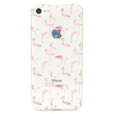 iPhone 8 Pink Flamingo Pattern Clear Silicone Case - Pink