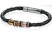 Mens Fred Bennett Brown Plait Bracelet with Four Tone Steel - 21.5cm