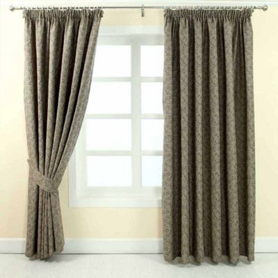 Homescapes Grey Jacquard Curtain Vintage Floral Design Fully Lined - 90