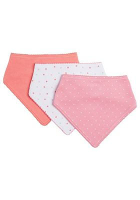 F&F 3 Pack of Dribble Bibs One Size Pink