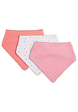 F&F 3 Pack of Dribble Bibs - Pink