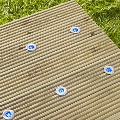 Buy set of 6 blue led solar garden decking lights from our solar set of 6 blue led solar garden decking lights aloadofball Image collections