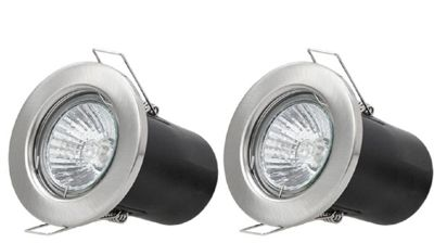 2 x Starmo Brushed Chrome Fire Rated Ceiling Light Spotlight Downlight