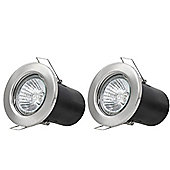 2 x Starmo Brushed Chrome GU10 Mains Recessed Ceiling Light Spotlight Downlight