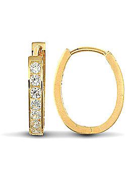 Jewelco London 9ct Yellow Gold CZ Set Oval Huggie Earring