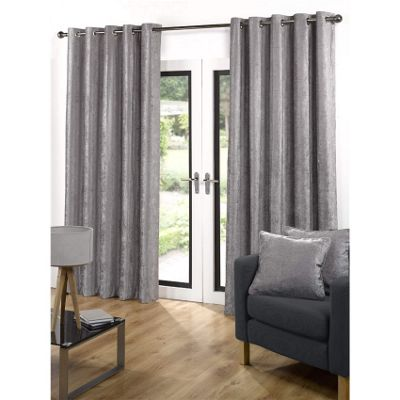 Velvetine Eyelet Curtains 117 x 137cm - Grey