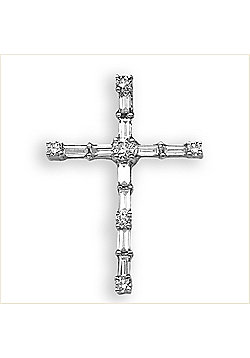 Jewelco London 18 Carat White Gold 48pts Diamond Cross