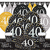 Sparkling Celebration 40th Birthday Party Pack - Deluxe Party for 8