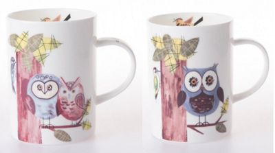 Roy Kirkham RSPB Natures Way Woodland Owl Mugs, Set of 2