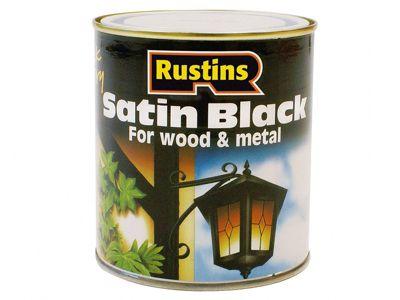 Rustins Satin Black Paint Quick Drying 500ml